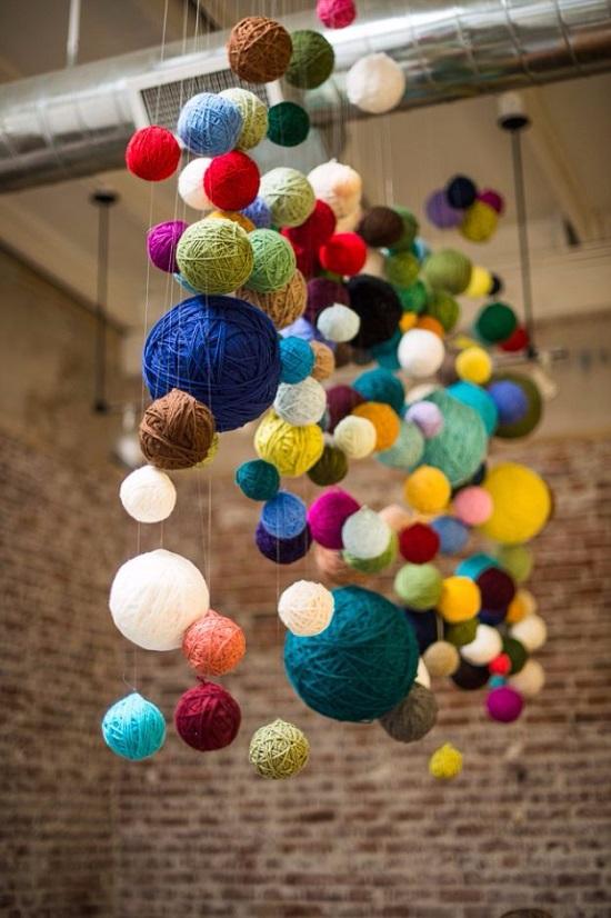 make yarn chandelier crafts to do with yarn